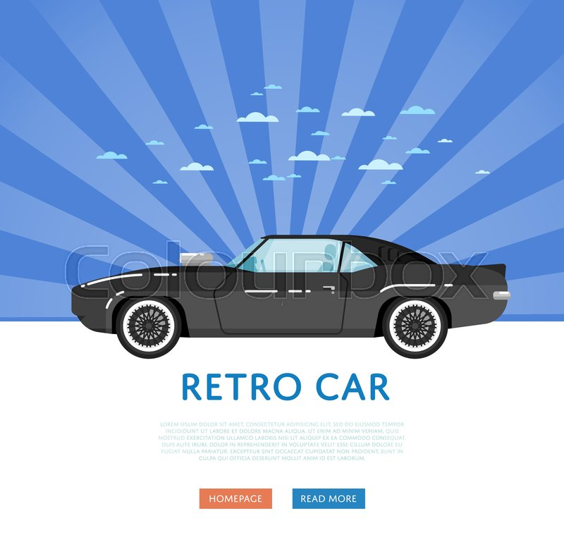 Website design with classic muscle car. Vintage old school hot road ...