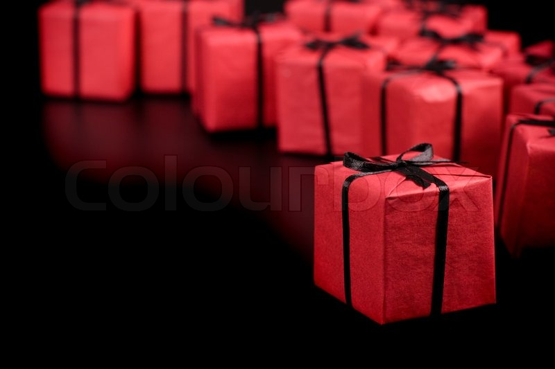 Many Red Gift Boxes On Black Background Stock Image Colourbox