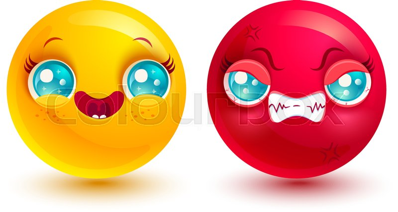 eb8189f88efe Vector set two smiles. Funny and angry ...
