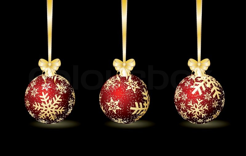 Three red Christmas spheres on a black background | Stock Vector ...