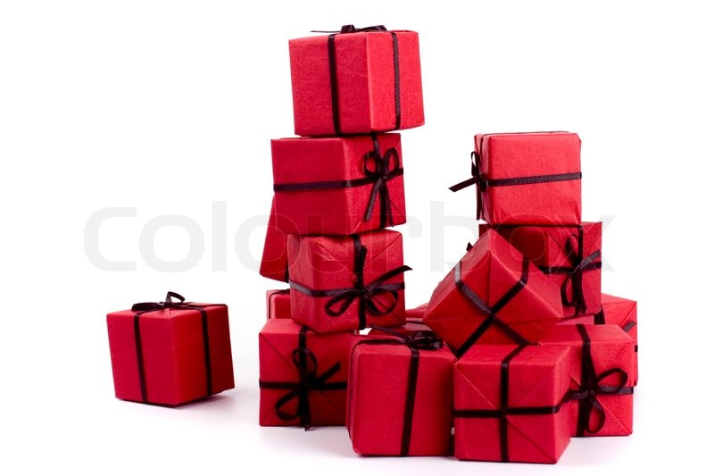 sc 1 st  Colourbox & Stack of red gift boxes on white ... | Stock Photo | Colourbox