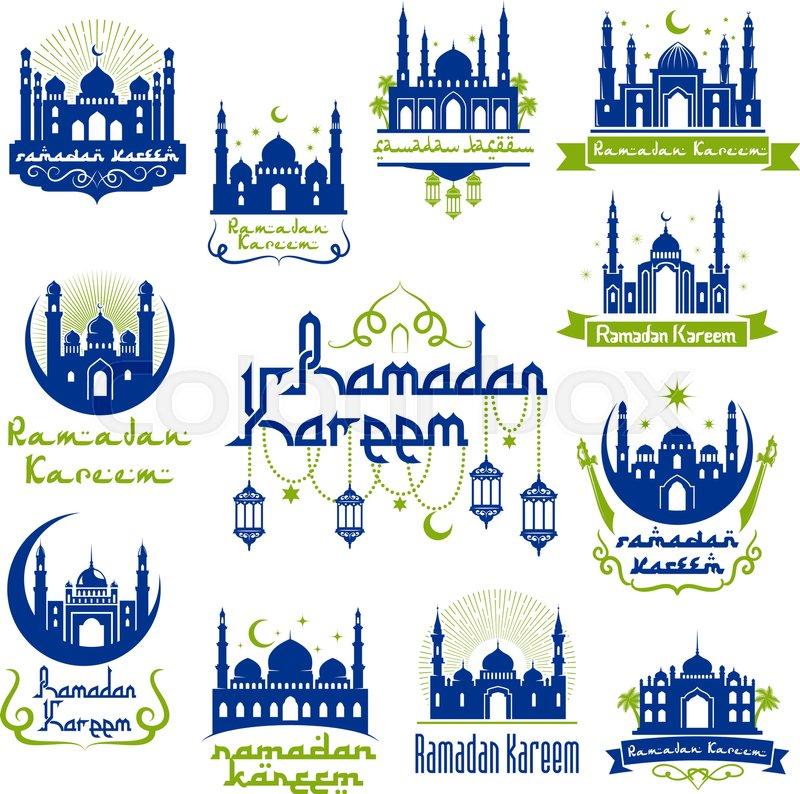 Ramadan Kareem Holy Month Celebration Symbols Arabic Muslim Mosque