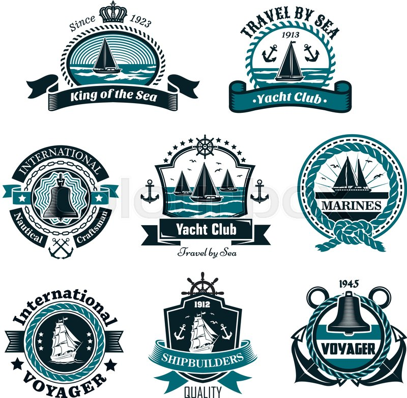 nautical and marine icons set for yachting club or ship builders and