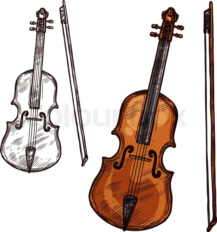 Violin With Bow String Music Instrument Vector Sketch Symbol Of