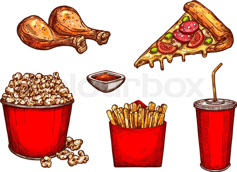 Fast Food Snacks Meals And Drinks Sketch Icons Set Vector Isolated