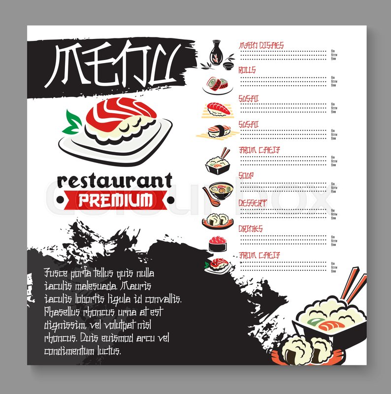 Japanese restaurant or sushi bar menu template vector premium japanese restaurant or sushi bar menu template vector premium design of main dishes and sushi rolls japanese seafood soups and tempura shrimps with maxwellsz