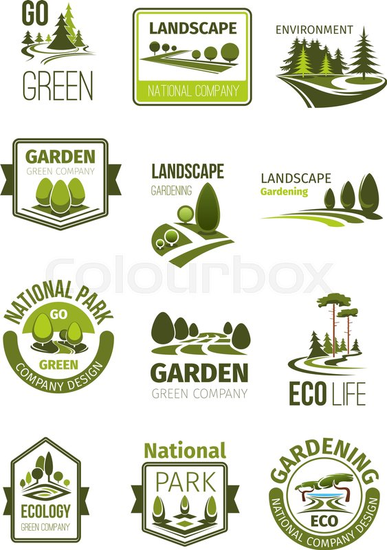 Garden And Green Landscape Design Stock Vector Colourbox