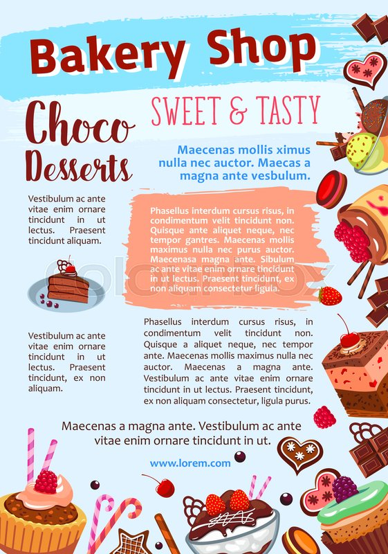 desserts and cakes poster for bakery stock vector