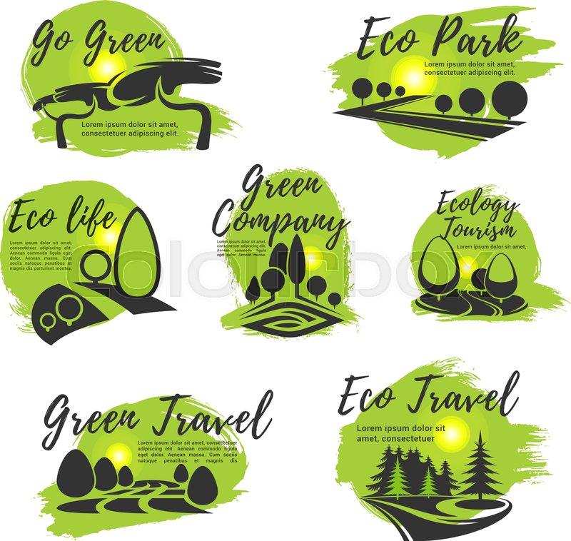 Eco Green Isolated Icon Set Ecology Sustainable Business Company
