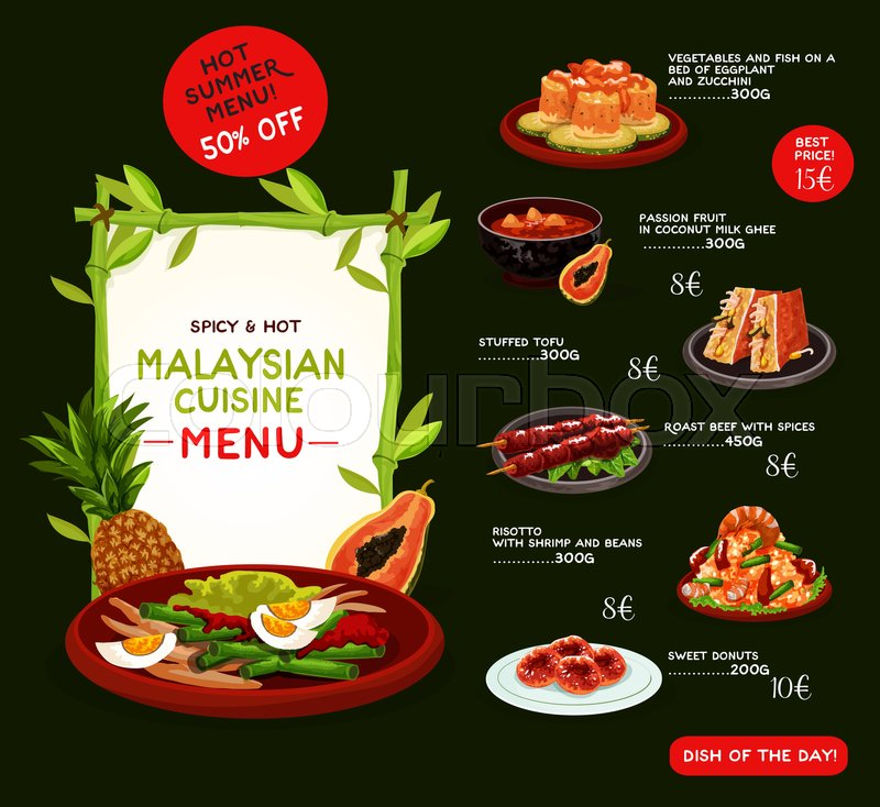 Malaysian cuisine menu template for asian restaurant for Asia asian cuisine menu