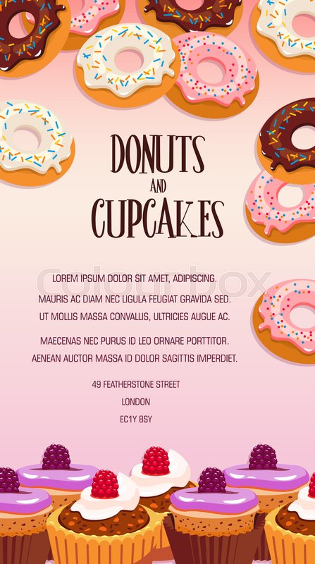 Cupcake And Donut Pastry Dessert Banner Bakery Shop Or