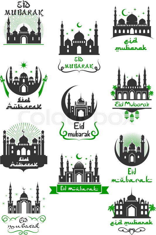 Eid mubarak muslim greeting icon for ramadan kareem celebration eid mubarak muslim greeting icon for ramadan kareem celebration arabic religion festive symbol of islamic mosque with crescent moon star sword and ribbon m4hsunfo