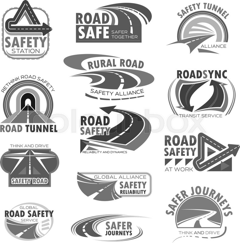 Road Safety Vector Icons Set For Highway And Tunnel Construction
