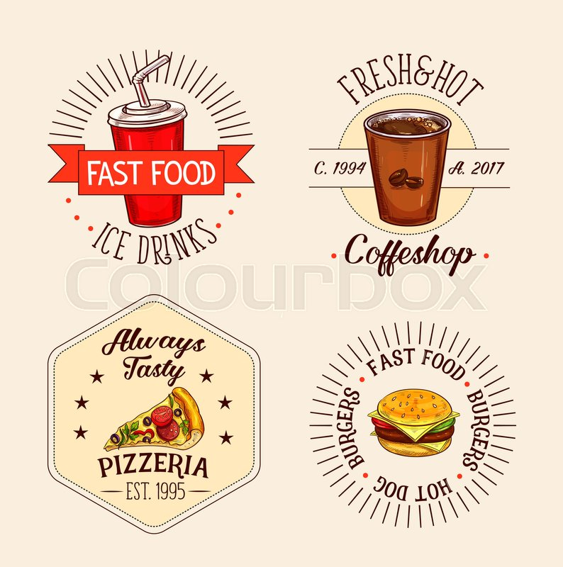 Fast Food Icons Set Of Soda Drink And Coffee Cup For Coffeeshop