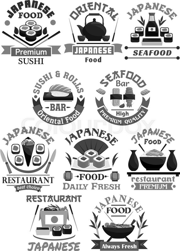 Sushi Bar Vector Icons For Japanese Seafood Restaurant Or Menu