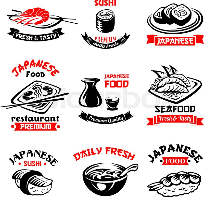 Sushi Icons Set For Japanese Seafood Or Sushi Bar Vector Isolated