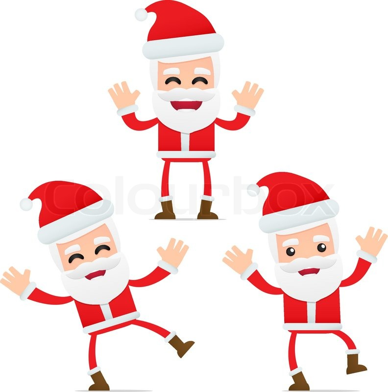 set of funny cartoon santa in various poses for use in presentations
