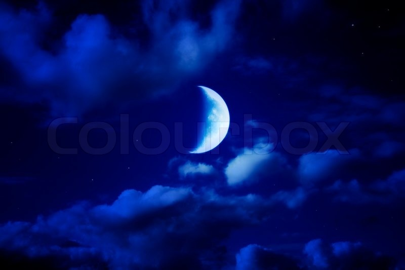 Night Beautiful Blue Sky With Cumulus Clouds Moon And Stars