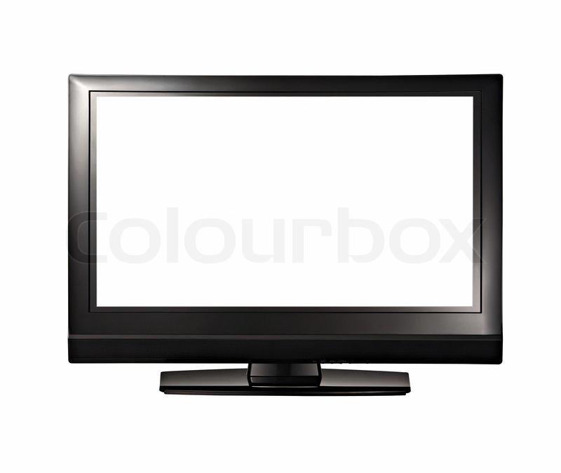 lcd high definition flachbildschirm fernseher vor wei em hintergrund stock foto colourbox. Black Bedroom Furniture Sets. Home Design Ideas