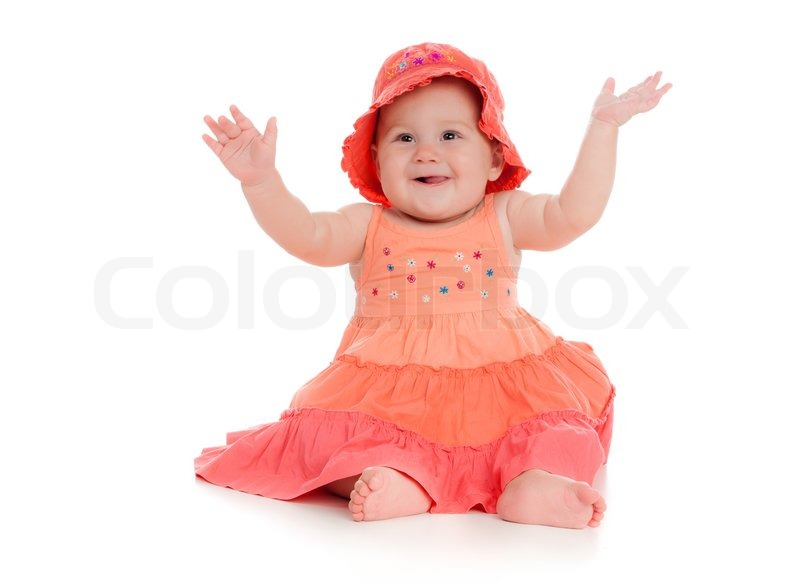 Small child isolated on a white background   Stock Photo ...