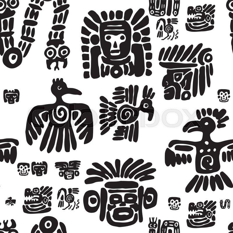 Seamless Vector Maya Pattern Black And White Ethnic