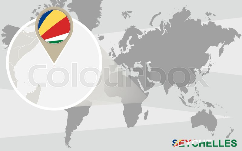 World Map With Magnified Seychelles Stock Vector