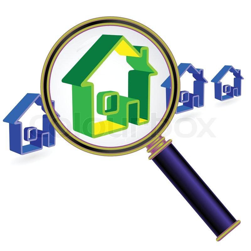Rental Home Locator: Startseite Zeichen Unter Lupe Glas .