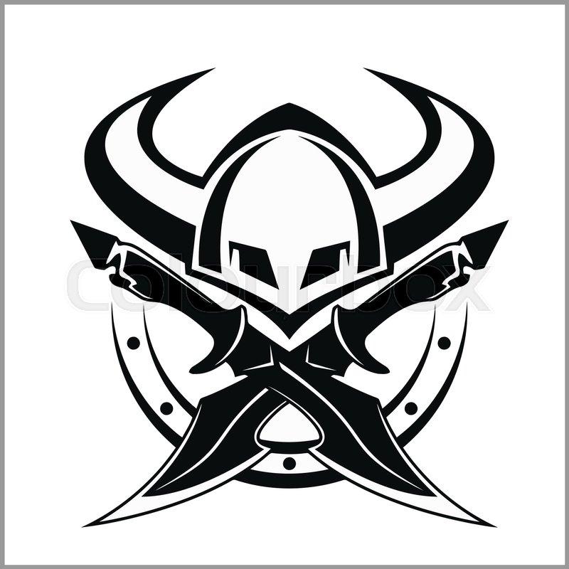 Viking Head Logo Vector Design Head Of Warrior Symbol Or Icon