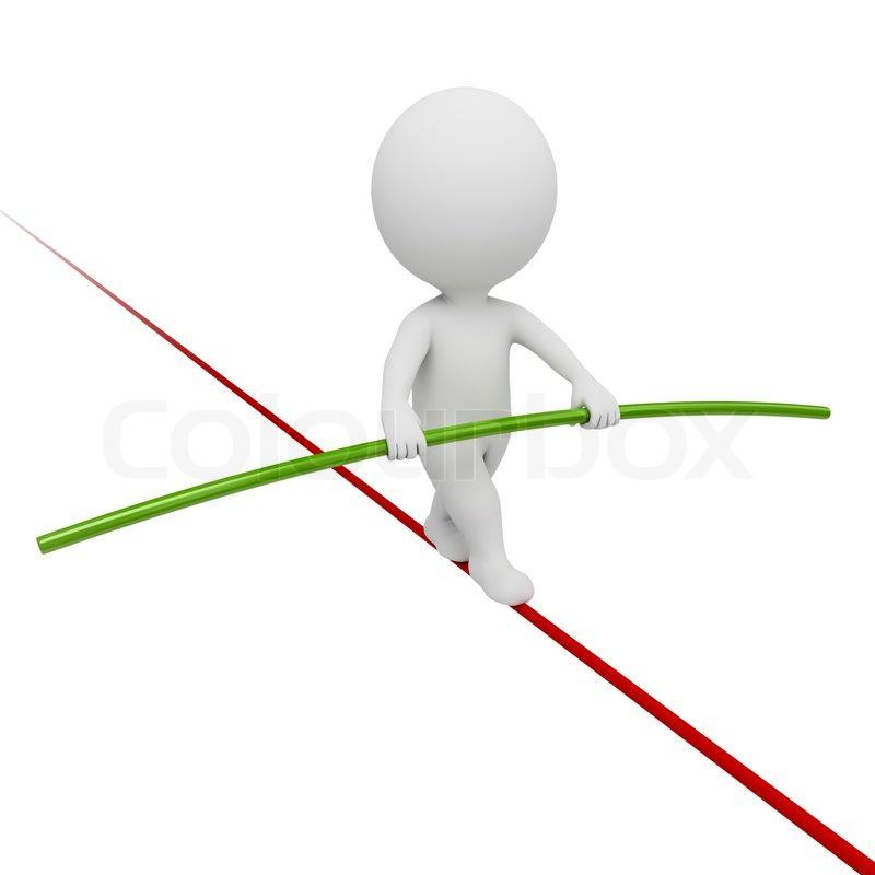 3d kleine Leute - Acrobat Balancieren auf einem Seil | Stockfoto ...