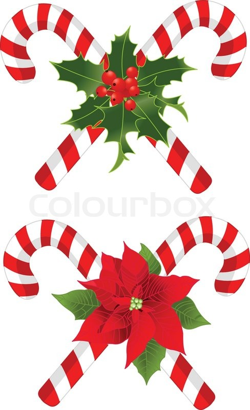 two christmas candy cane decorated designs stock vector colourbox