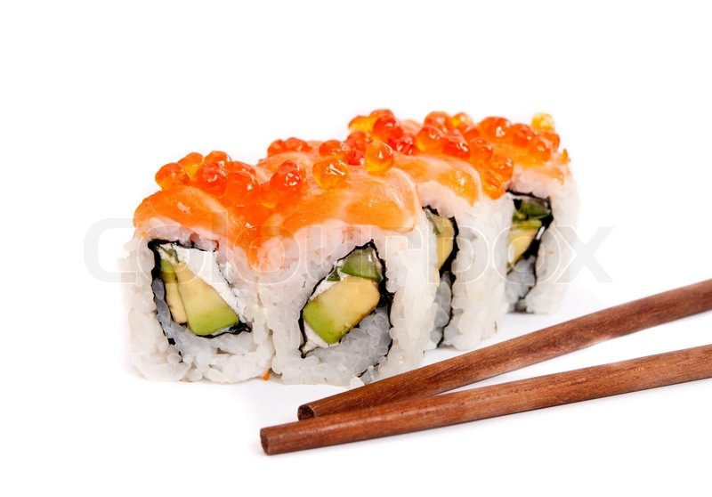 Japanese sushi with rice raw fish and seafood stock for Is sushi raw fish