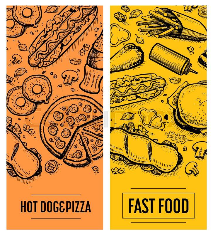 Fast food restaurant menu card template set vector for Sandwich shop menu template
