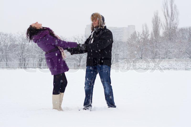 Romantic couple in winter