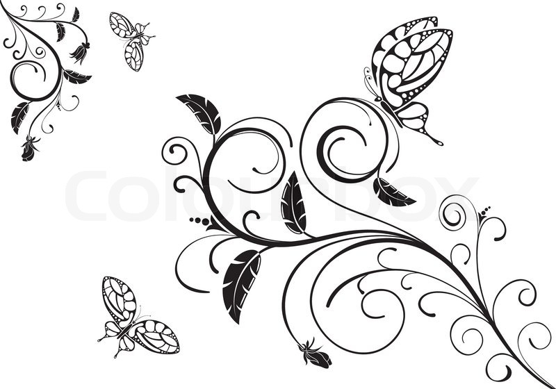 floral ornament mit schmetterling element f r design vektor illustration vektorgrafik. Black Bedroom Furniture Sets. Home Design Ideas