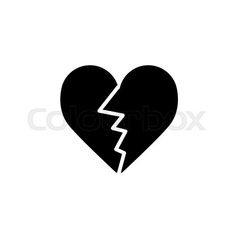 Black Broken Heart Text Symbol Archidev