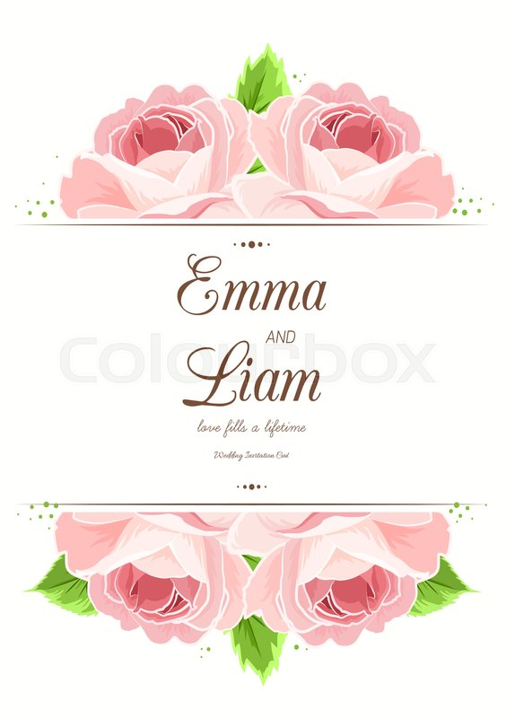 Wedding marriage card template. Pink red rose flowers frame border ...