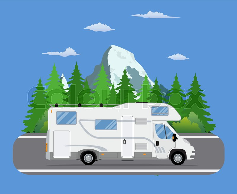 Road travel trailer driving on forest area road. Family traveler truck summer trip concept. Camper on road trip. vector illustration in flat design, vector