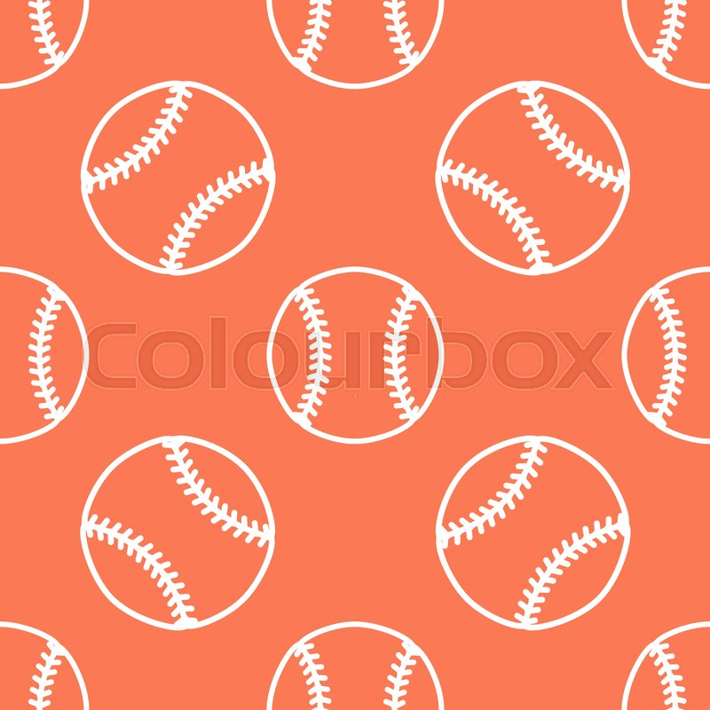 Baseball, softball sport game vector seamless pattern, orange background with line icons of balls. Linear signs for championship, equipment store, vector