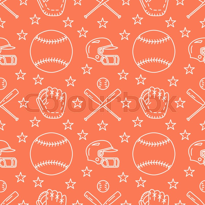 Baseball, softball sport game vector seamless pattern, orange background with line icons of balls, player, gloves, bat, helmet. Flat signs for championship, equipment store, vector