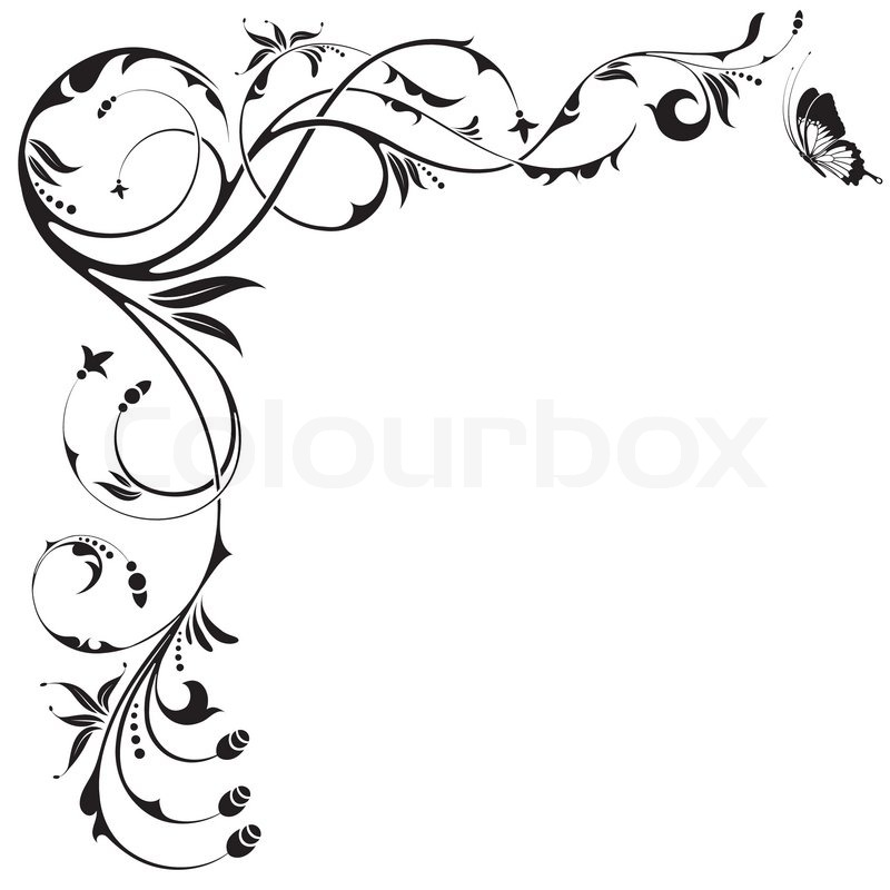 floral border with butterfly element for design vector rh colourbox com vector borders and frames vector borders and frames