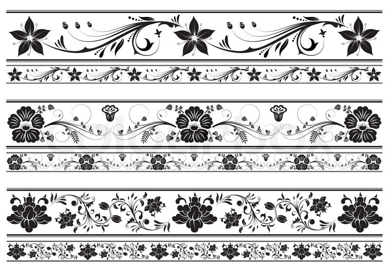 Collect Floral Border Element For Design Vector Illustration