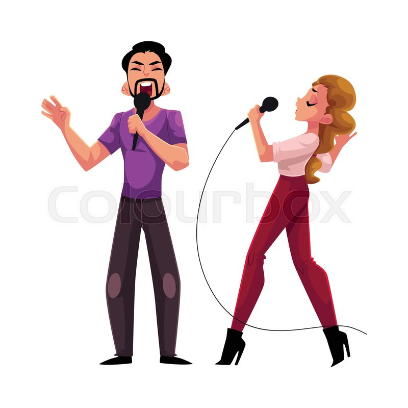 man and woman couple singing in duet stock vector colourbox. Black Bedroom Furniture Sets. Home Design Ideas