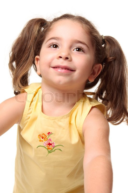 Beautiful Radiant Smiling Toddler Girl Looking Upshe Has