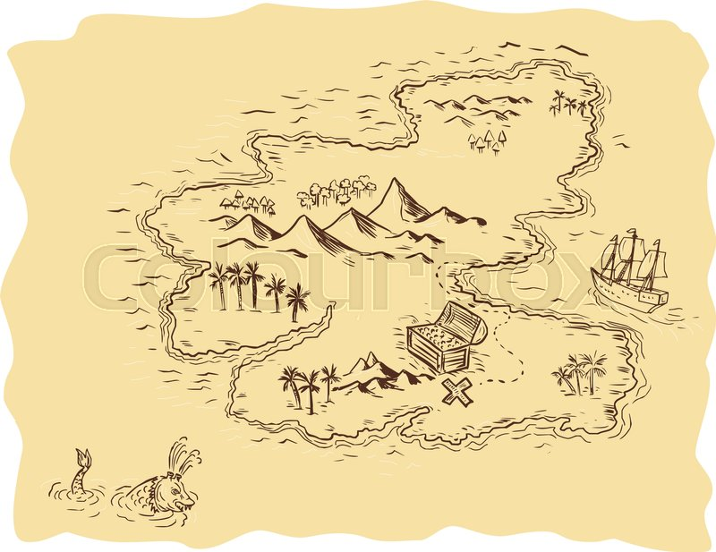 drawing sketch style illustration of a pirate treasure map