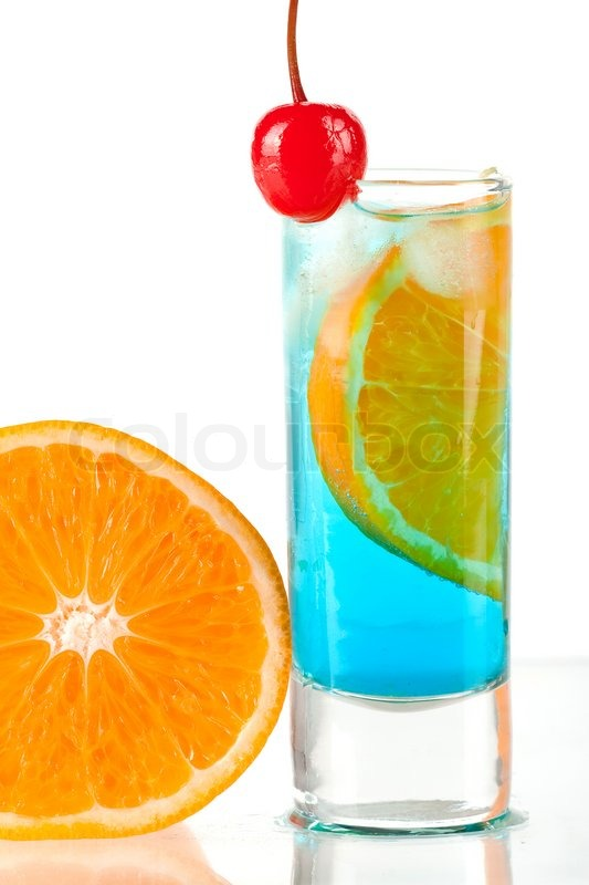Alcohol cocktail with blue curacao orange and maraschino for Orange and blue cocktails