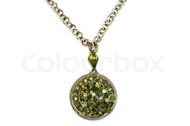 Stock foto af wonderful halskæde med grønne sten isoleret på den