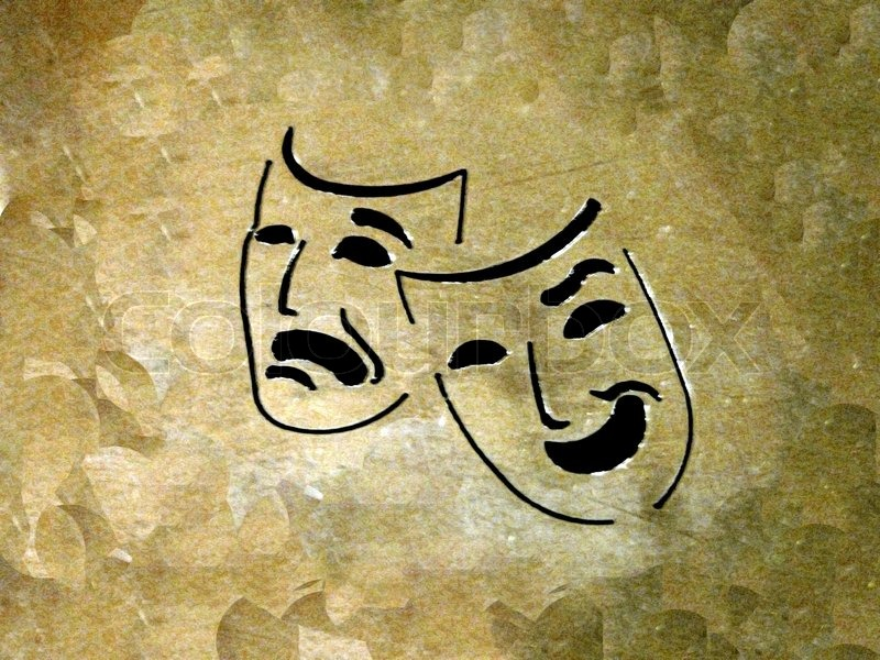 Theater Masks Over Grunge Background Stock Photo Colourbox