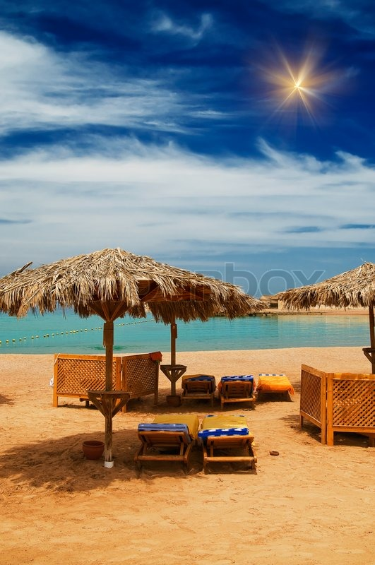 Wonderful Tropical Beach In The Egypt Stock Photo