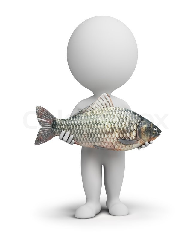3d small people with fish in hands stock photo colourbox for Take me fishing org