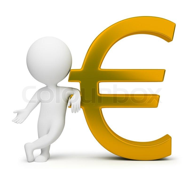 3d små mennesker med en guld euro tegn  stock foto  Colourbox